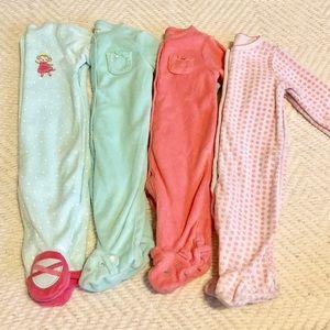 Bundle of 4 Infant Sleepers 3M EUC
